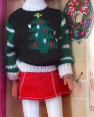 Barbie Doll-Sweater-Skirt-Santa Hat-Boots-Wreath-Earrings