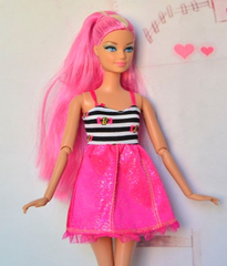Modest Barbie Clothes-Barbie Dress-Hot Pink Barbie Shoes-Earrings