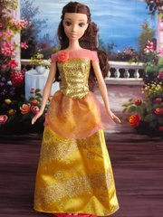 Barbie Princess Dress-Gold Barbie Shoes-Pearl Earrings