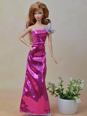 Satin Evening Barbie Gown-Fancy Shoes-Earrings