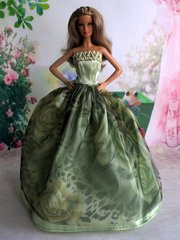 Green Satin Barbie Dress-Purse-Barbie Shoes-Earrings