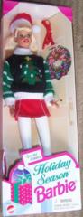 1996 Barbie Doll-Sweater-Skirt-Santa Hat-Boots-Wreath-Earrings