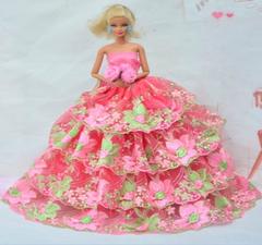 Sweet Barbie Gown-Roses-Purse-Shoes-Necklace-Bracelet-Earrings
