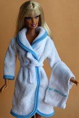 Barbie Bathrobe-Modest Barbie Clothes-Belt-Towel-Blue Slippers
