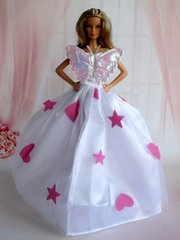 Barbie Dress-Purse-Pink Shoes-Pearl Earrings