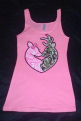 Tank Top- Hot Pink-Camo Deer Head Heart