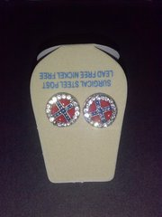 Rebel Flag Round Rhinestone Earrings