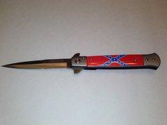 Rebel Flag Stiletto Spring Assisted Knife
