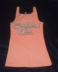 Tank Top- Peach-Southern Girl and Proud of It