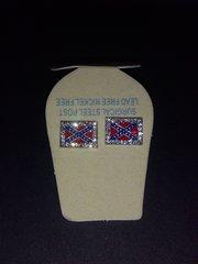 Rebel Flag Square Rhinestone Earrings