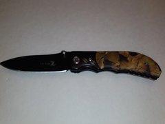 Jungle Camo Handle w/ Black Blade Folding Knife