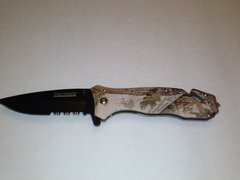 Brown Camo Spring Assisted Knife w/ Rescue Window Breaker