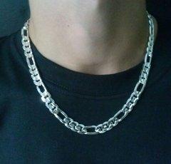 "Silver Bonded 8.5mm Beveled Figaro Necklace 20"" -163/20"
