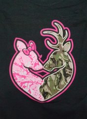 Black T-Shirt-Camo Deer Head Heart