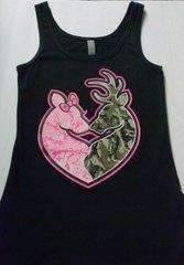 Tank Top- Black-Camo Deer Head Heart