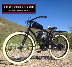 DO-IT-YOURSELF U-MOTO 4-STROKE ON-POINT (TM) CRUISER MOTORIZED BICYCLE SYSTEM WITH BELT-DRIVE TRANSMISSION