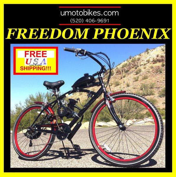 do it yourself u moto 2 stroke freedom phoenix tm 7 speed cruiser motorized bicycle system - Motorized Bicycle Frame