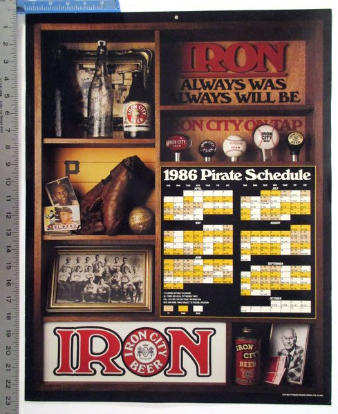 1986 Pittsburgh Pirates Schedule Iron City Beer Poster