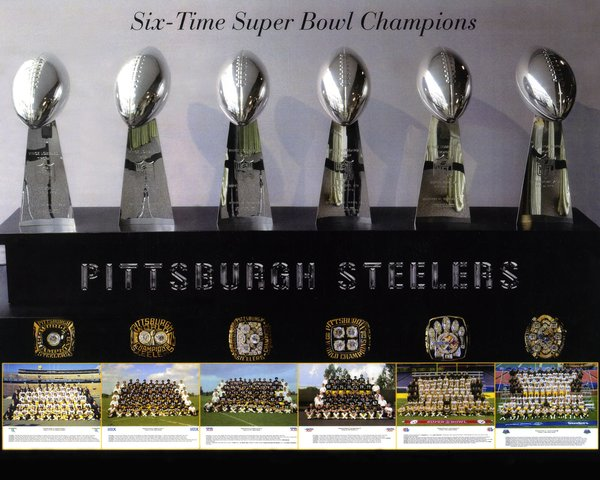 56 Steelers Super Bowl Trophies 11x14 Photo Pittsburgh