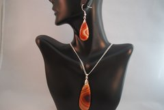 Red Banded Agate Pendant and Earrings