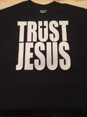 TSHIRT - TRUST JESUS WITH CROSS - BLACK WITH WHITE LOGO