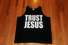 TANK TOP - BLACK - TRUST JESUS WHITE LOGO