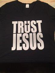 LADIES VNECK - BLACK - TRUST JESUS WITH CROSS