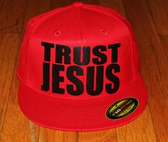 TRUST JESUS - FLEXFIT ALL RED/BLACK LOGO