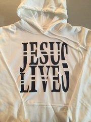 HOODIE - WHITE - JESUS LIVES - BLACK LOGO
