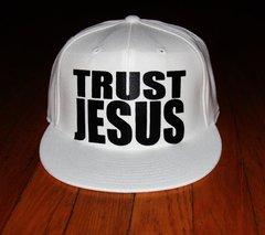 TRUST JESUS FLEXFIT HAT ALL WHITE/BLACK LOGO
