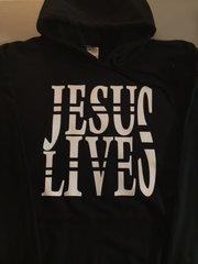 HOODIE - BLACK - JESUS LIVES - WHITE LOGO