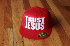 TRUST JESUS SNAPBACK HAT ALL RED/WHITE LOGO