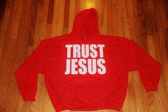 HOODIE - TRUST JESUS - RED - WHITE LOGO