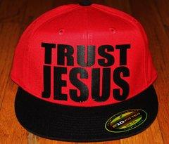 TRUST JESUS FLEXFIT HAT RED BLACK BILL/BLACK LOGO