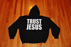 HOODIE - BLACK - TRUST JESUS - WHITE LOGO