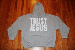 HOODIE - GREY - TRUST JESUS WHITE LOGO