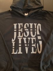 HOODIE - CHARCOAL GREY - JESUS LIVES - WHITE LOGO