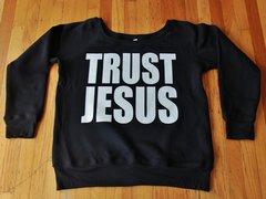 WOMENS OFF SHOULDER SWEATSHIRT - TRUST JESUS - WHITE LOGO