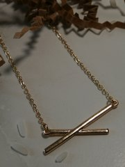 crossed bar necklace gold