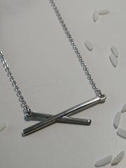 crossed bar necklace silver