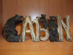 """3.5"""" x 9"""" Cabin sign w/bears"""