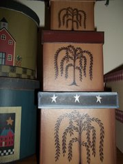 3 pc set storage boxes tan w/willow tree