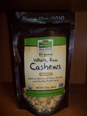 NOW Foods Real Food™ Certified Organic Whole Raw Cashews Unsalted -- 10 oz