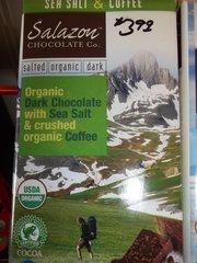 Salazon organic dark chocolate bar w/sea salt & crushed organic coffee 3 oz
