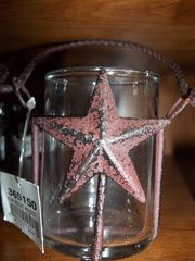 candle/tea light holder cracked red w/star