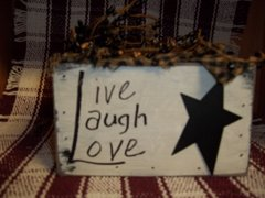 wooden Box Candle holder Live, Laugh, Love