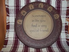 "9.5"" Friends burgandy plate"