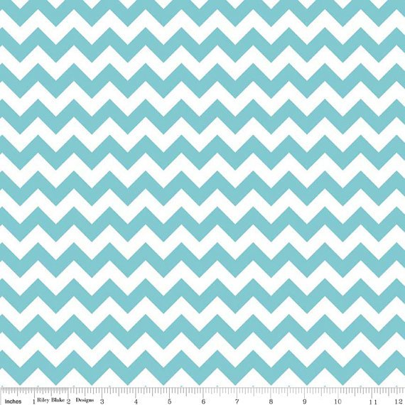 Aqua and White Small Chevron Fabric, Riley Blake, 100% Cotton, Aq ...