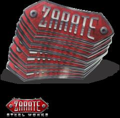 Zarate Steel Sticker 8 x 2-3/8 Red