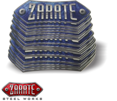 Zarate Steel Works Sticker 8 x 2-3/8 Blue